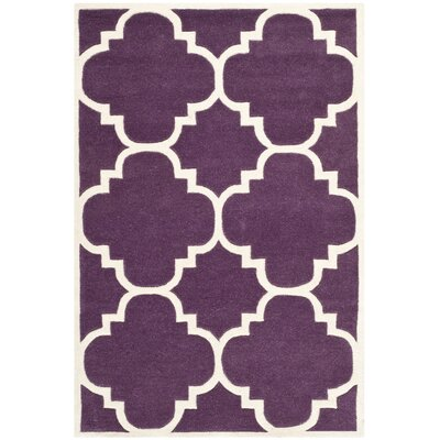 Wilkin Hand-Tufted Purple/Ivory Area Rug Rug Size: Rectangle 4 x 6