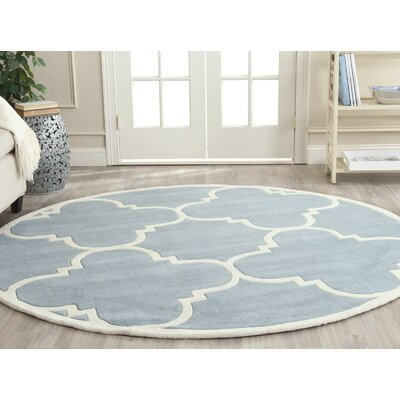 Wilkin Hand-Tufted Blue/Ivory Area Rug Rug Size: Round 5