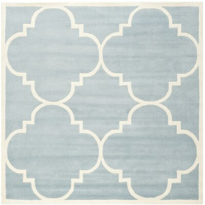 Wilkin Hand-Tufted Blue/Ivory Area Rug Rug Size: Square 4