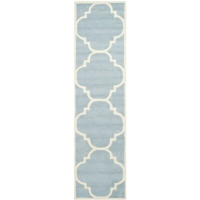 Wilkin Hand-Tufted Blue/Ivory Area Rug Rug Size: Runner 23 x 11