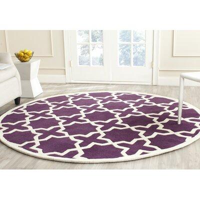 Wilkin Purple / Ivory Rug Rug Size: Round 7