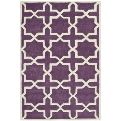 Wilkin Purple / Ivory Rug Rug Size: Rectangle 4 x 6