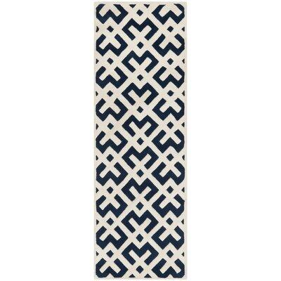 Wilkin Dark Blue / Ivory Rug Rug Size: Runner 23 x 7
