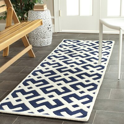 Wilkin Hand-Tufted Dark Blue/Ivory Area Rug Rug Size: Runner 23 x 9