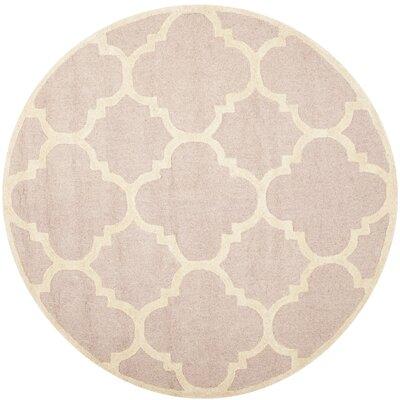 Charlenne Trellis Light Pink & Ivory Area Rug Rug Size: Round 6