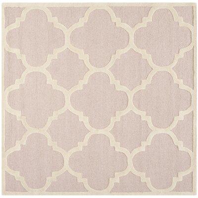 Charlenne Trellis Light Pink & Ivory Area Rug Rug Size: Square 6