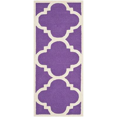 Charlenne Wool Purple/Ivory Area Rug Rug Size: Runner 26 x 8