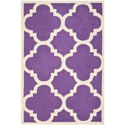 Charlenne Wool Purple / Ivory Area Rug Rug Size: 3 x 5