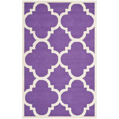 Martins Purple / Ivory Area Rug Rug Size: 5 x 8