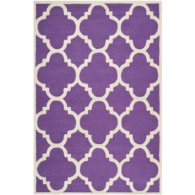 Charlenne Wool Purple / Ivory Area Rug Rug Size: 6 x 9