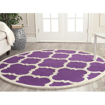 Charlenne Wool Purple / Ivory Area Rug Rug Size: Round 6