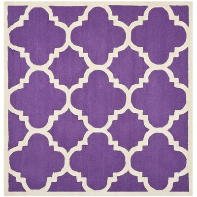 Charlenne Wool Purple / Ivory Area Rug Rug Size: Square 6