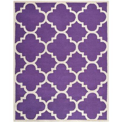 Charlenne Wool Purple / Ivory Area Rug Rug Size: 8 x 10