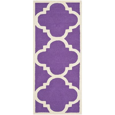 Martins Purple / Ivory Area Rug Rug Size: Runner 26 x 12