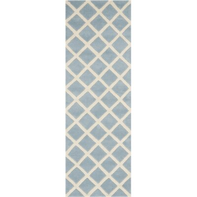 Wilkin Hand-Tufted Light Blue/Ivory Area Rug Rug Size: Runner 23 x 11