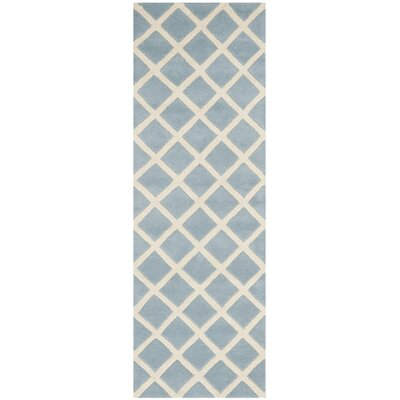 Wilkin Hand-Tufted Light Blue/Ivory Area Rug Rug Size: Runner 23 x 9
