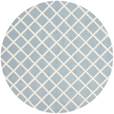 Wilkin Hand-Tufted Light Blue/Ivory Area Rug Rug Size: Round 7