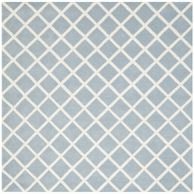 Wilkin Hand-Tufted Light Blue/Ivory Area Rug Rug Size: Square 7