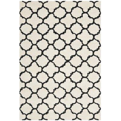 Wilkin Ivory/Black Area Rug Rug Size: 6 x 9