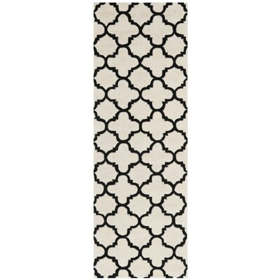 Wilkin Hand-Tufted Ivory/Black Area Rug Rug Size: Runner 23 x 7