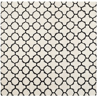 Wilkin Hand-Tufted Ivory/Black Area Rug Rug Size: Square 89
