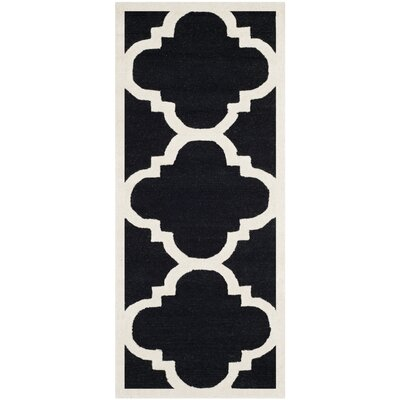 Rodgers Hand-Tufted Black/Ivory Area Rug Rug Size: Runner 26 x 12