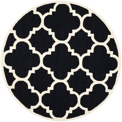 Charlenne Hand-Tufted Black/Ivory Area Rug Rug Size: Round 6