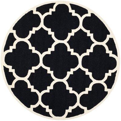 Charlenne Black / Ivory Area Rug Rug Size: Round 6