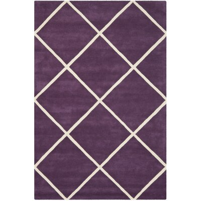 Wilkerson Hand-Tufted Purple/Ivory Area Rug Rug Size: Rectangle 8 x 10