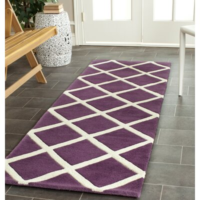 Vannoy Hand-Tufted Purple/Ivory Area Rug Rug Size: Runner 23 x 7