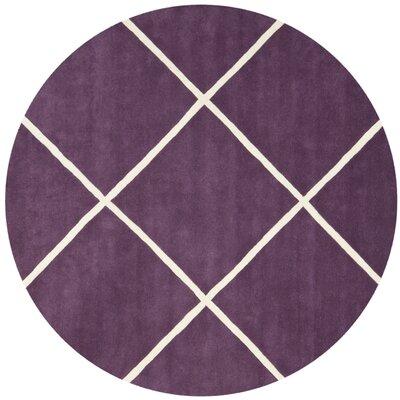 Vannoy Hand-Tufted Purple/Ivory Area Rug Rug Size: Round 7