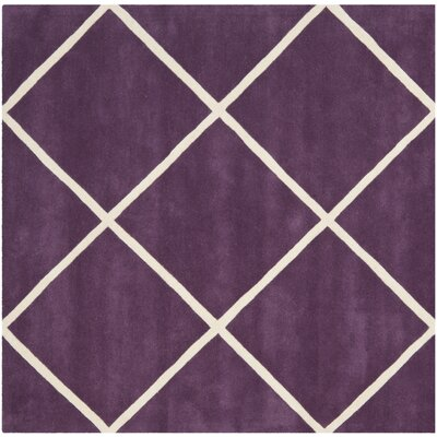 Wilkerson Hand-Tufted Purple/Ivory Area Rug Rug Size: Square 7