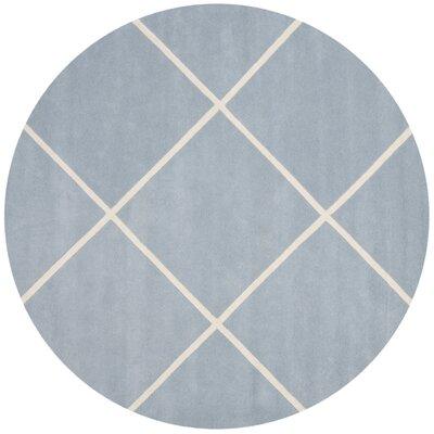 Eliza Hand-Tufted Blue/Ivory Area Rug Rug Size: Round 7