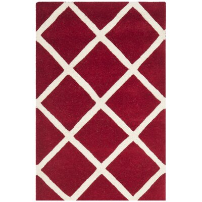 Wilkin Hand-Tufted Red/Ivory Area Rug Rug Size: Rectangle 8 x 10