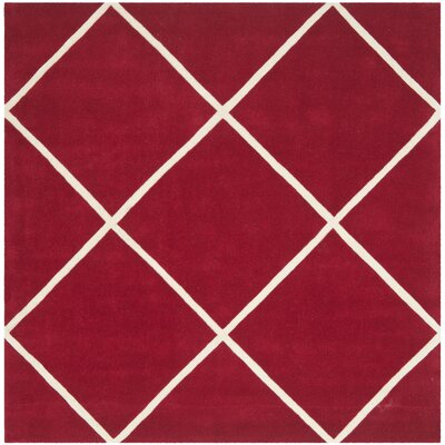 Wilkin Hand-Tufted Red/Ivory Area Rug Rug Size: Square 7