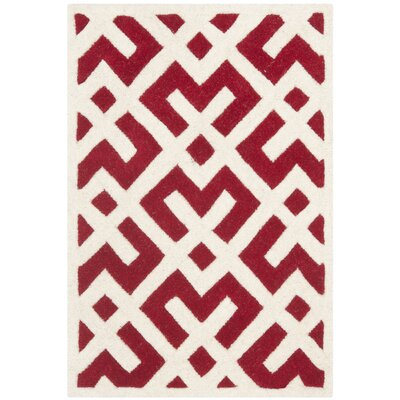 Wilkin Hand-Tufted Red/Ivory Area Rug Rug Size: Rectangle 2 x 3