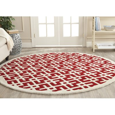 Wilkin Hand-Tufted Red/Ivory Area Rug Rug Size: Round 7
