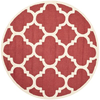Martins Rust / Ivory Area Rug Rug Size: Round 6'