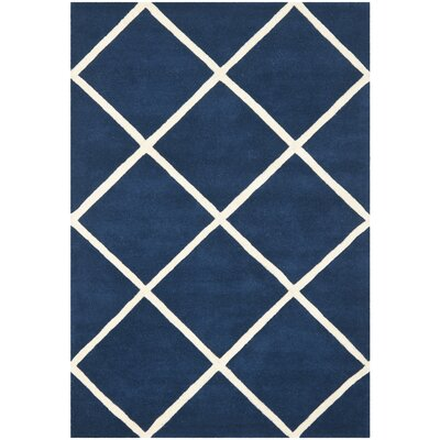 Wilkin Dark Blue & Ivory Area Rug Rug Size: 5 x 8