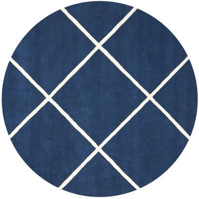 Wilkin Dark Blue & Ivory Area Rug Rug Size: Round 7