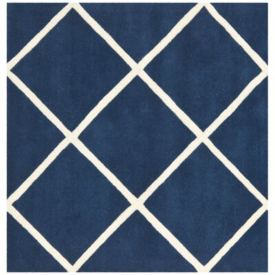 Wilkin Dark Blue & Ivory Area Rug Rug Size: Square 7