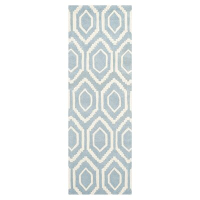 Wilkin Hand-Tufted Blue/Ivory Area Rug Rug Size: Runner 23 x 5
