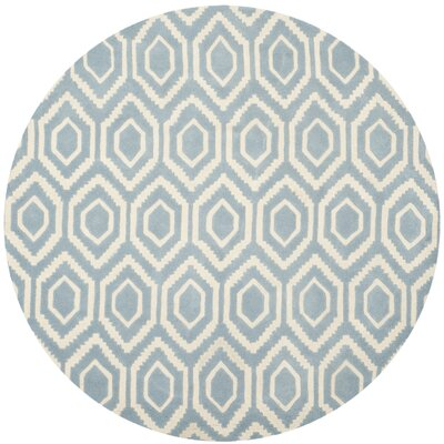 Wilkin Hand-Tufted Blue/Ivory Area Rug Rug Size: Round 6