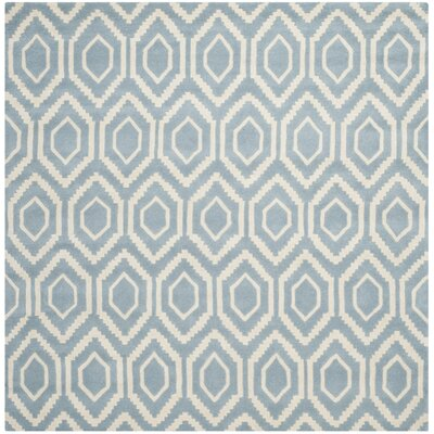 Wilkin Ikat Blue/Ivory Area Rug Rug Size: Square 7