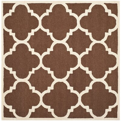 Charlenne Wool Dark Brown/Ivory Area Rug Rug Size: Square 6