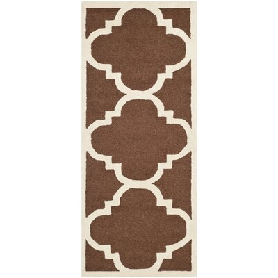 Charlenne Wool Dark Brown/Ivory Area Rug Rug Size: Runner 26 x 10