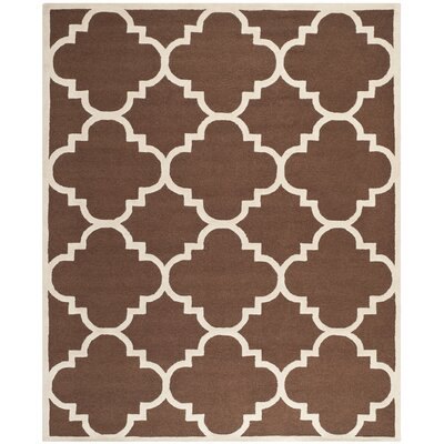 Charlenne Wool Dark Brown/Ivory Area Rug Rug Size: 5 x 8