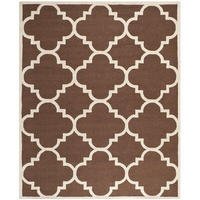 Charlenne Wool Dark Brown/Ivory Area Rug Rug Size: 6 x 9