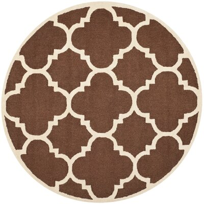 Charlenne Wool Dark Brown/Ivory Area Rug Rug Size: Rectangle 4 x 6