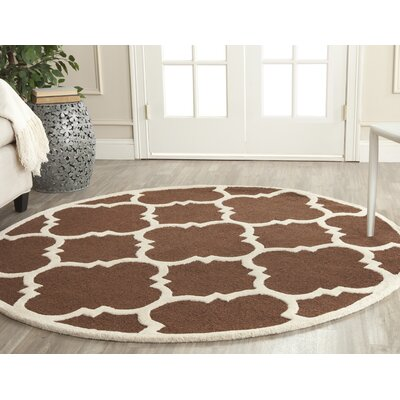 Charlenne Wool Dark Brown/Ivory Area Rug Rug Size: Round 6